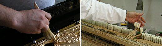 Riparazione e sostituzione della cordiera, della tastiera o della meccanica